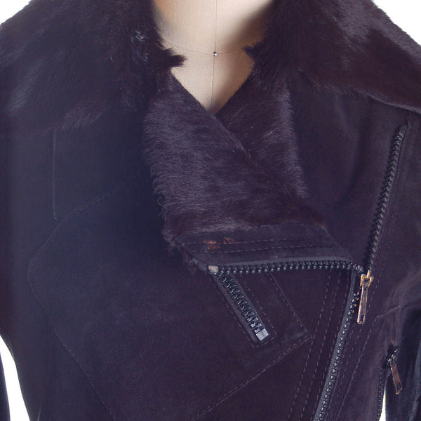 Vintage Womens Black  Pony/Suede Asymmetrical  Zipper Jacket 1970s Italy  App.Size 6 - The Best Vintage Clothing  - 5