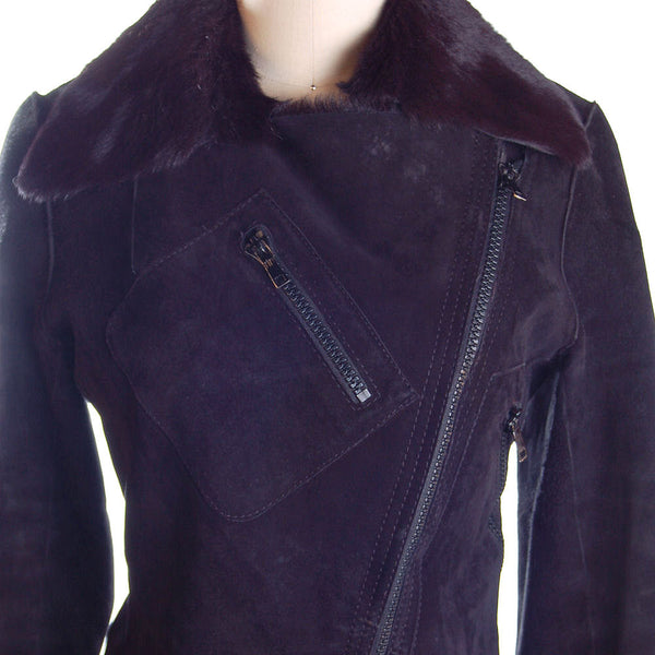 Vintage Womens Black  Pony/Suede Asymmetrical  Zipper Jacket 1970s Italy  App.Size 6 - The Best Vintage Clothing  - 2