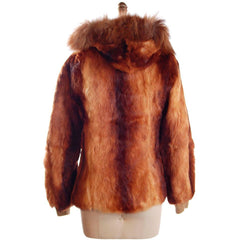 "Vintage  Rust Brown Red Rabbit Parka Coat 1970S  36"" Bust Size 6 - The Best Vintage Clothing  - 3"