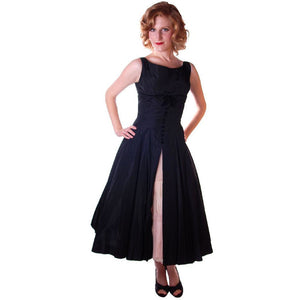 Vintage Black Dress Taffeta W/Pink Tulle Peekaboo Petticoat 1950S  32-24-Free - The Best Vintage Clothing  - 1