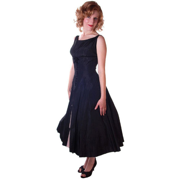 Vintage Black Dress Taffeta W/Pink Tulle Peekaboo Petticoat 1950S  32-24-Free - The Best Vintage Clothing  - 2