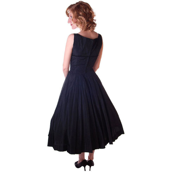 Vintage Black Dress Taffeta W/Pink Tulle Peekaboo Petticoat 1950S  32-24-Free - The Best Vintage Clothing  - 3