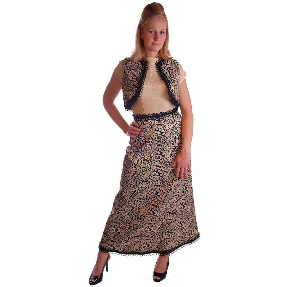 Vintage Black Metallic Silk Paisley Brocade Gold Skirt Vest 1970S Waist 28 - The Best Vintage Clothing  - 1