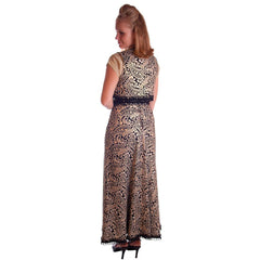 Vintage Black Metallic Silk Paisley Brocade Gold Skirt Vest 1970S Waist 28 - The Best Vintage Clothing  - 2