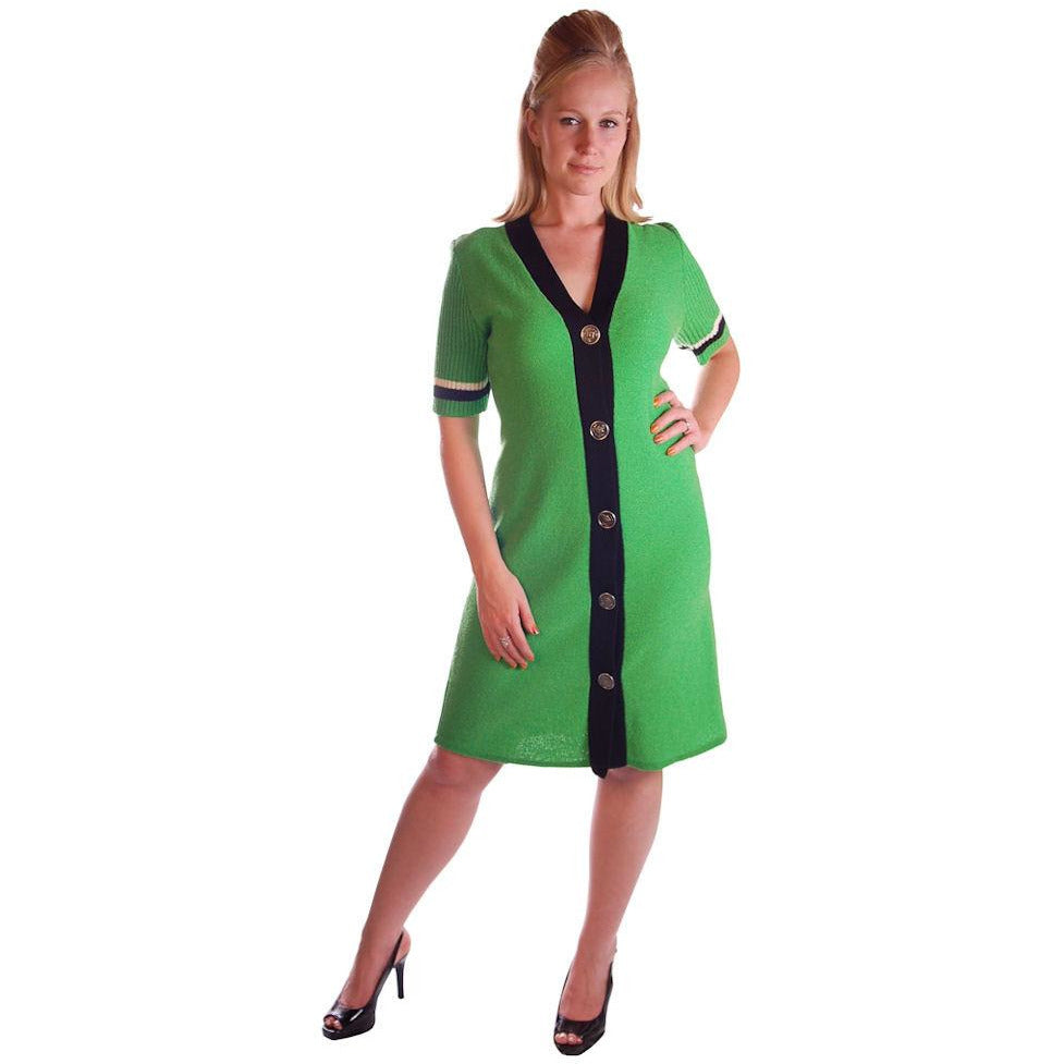 Vintage Green Color Block  Knit Dress Steve Fabrikant 1980S 40-36-39 - The Best Vintage Clothing  - 1