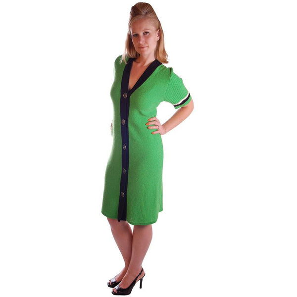 Vintage Green Color Block  Knit Dress Steve Fabrikant 1980S 40-36-39 - The Best Vintage Clothing  - 4