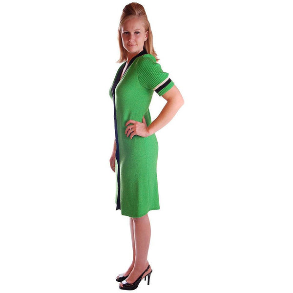 Vintage Green Color Block  Knit Dress Steve Fabrikant 1980S 40-36-39 - The Best Vintage Clothing  - 3