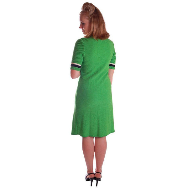 Vintage Green Color Block  Knit Dress Steve Fabrikant 1980S 40-36-39 - The Best Vintage Clothing  - 2