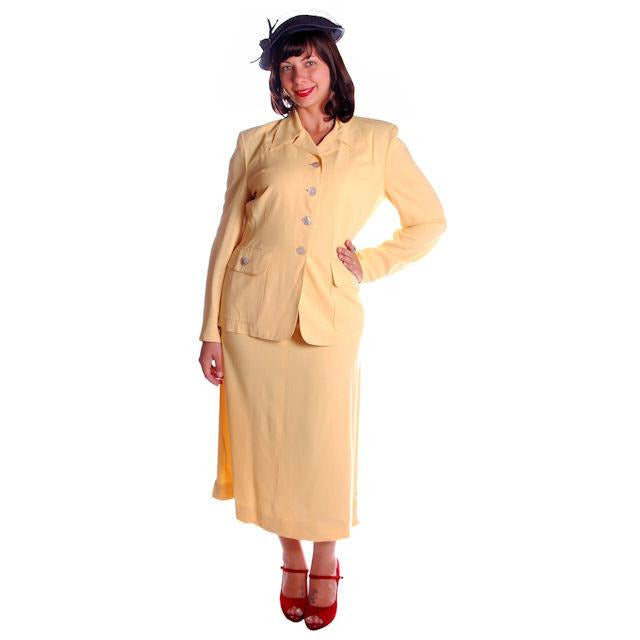 Vintage Yellow Rayon Gabardine Ladies Suit 1940s 41-29-42 - The Best Vintage Clothing  - 1
