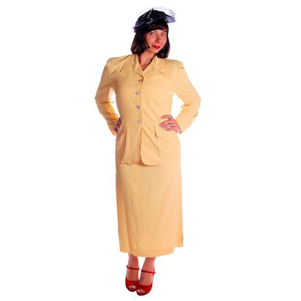 Vintage Yellow Rayon Gabardine Ladies Suit 1940s 41-29-42 - The Best Vintage Clothing  - 2