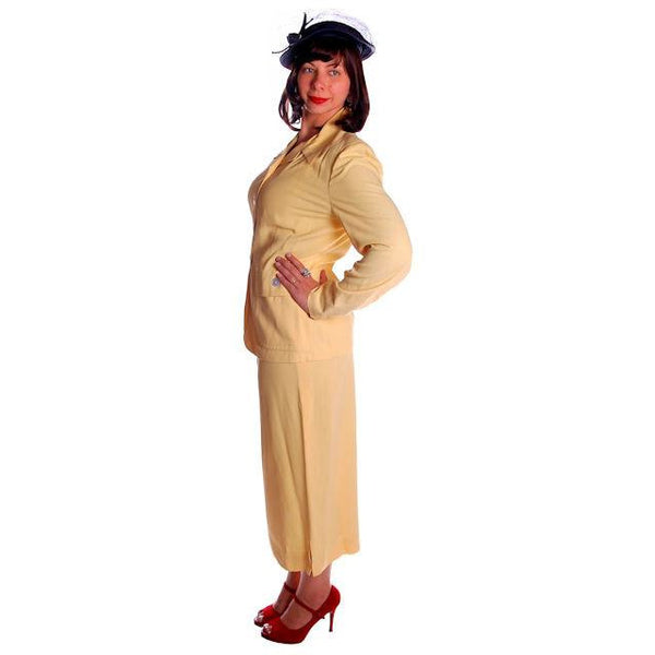 Vintage Yellow Rayon Gabardine Ladies Suit 1940s 41-29-42 - The Best Vintage Clothing  - 3