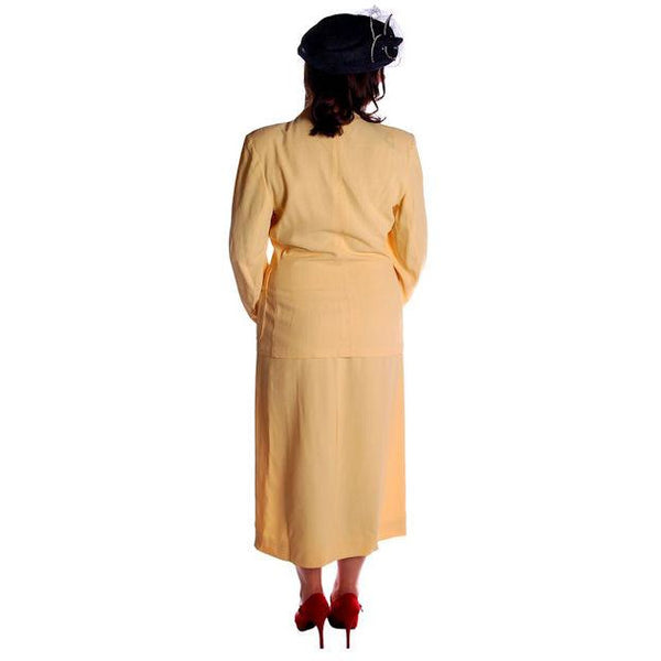 Vintage Yellow Rayon Gabardine Ladies Suit 1940s 41-29-42 - The Best Vintage Clothing  - 4