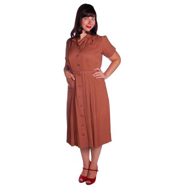 Vintage Brown Rayon Day Dress 1940s Activi-tee 40-31-40 - The Best Vintage Clothing  - 1