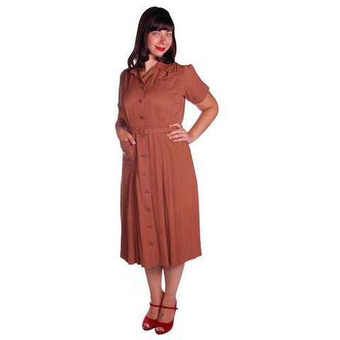 Vintage Brown Rayon Day Dress 1940s Activi-tee 40-31-40