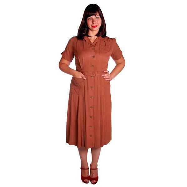 Vintage Brown Rayon Day Dress 1940s Activi-tee 40-31-40 - The Best Vintage Clothing  - 2