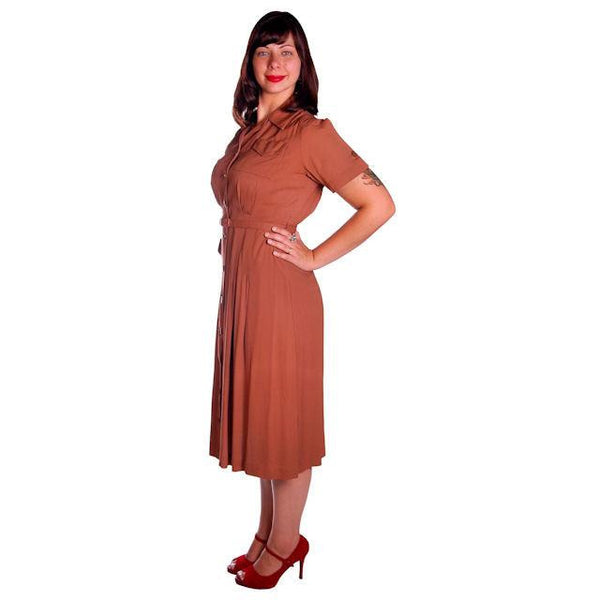 Vintage Brown Rayon Day Dress 1940s Activi-tee 40-31-40 - The Best Vintage Clothing  - 3