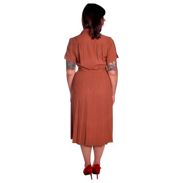 Vintage Brown Rayon Day Dress 1940s Activi-tee 40-31-40 - The Best Vintage Clothing  - 4