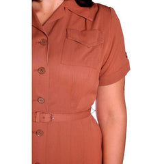 Vintage Brown Rayon Day Dress 1940s Activi-tee 40-31-40 - The Best Vintage Clothing  - 5