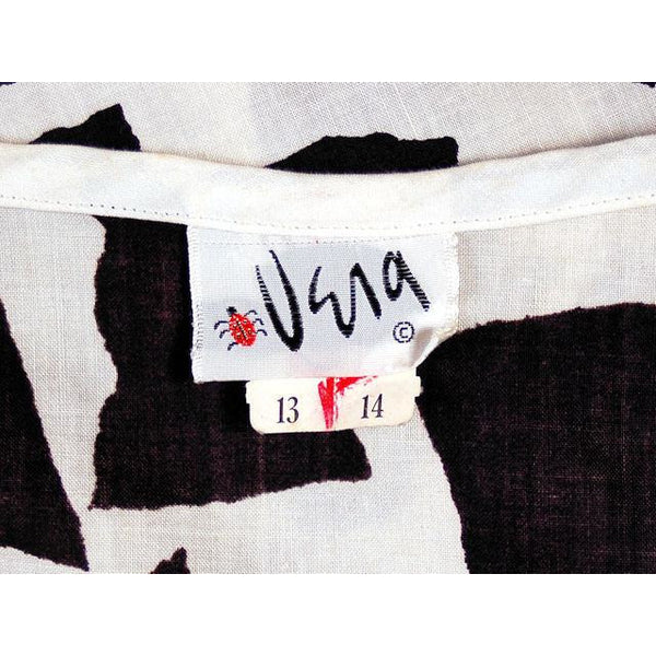 Vintage Bold Black & White Cotton Print  Shift Dress Vera 1970s NOS 40-40-40 - The Best Vintage Clothing  - 5