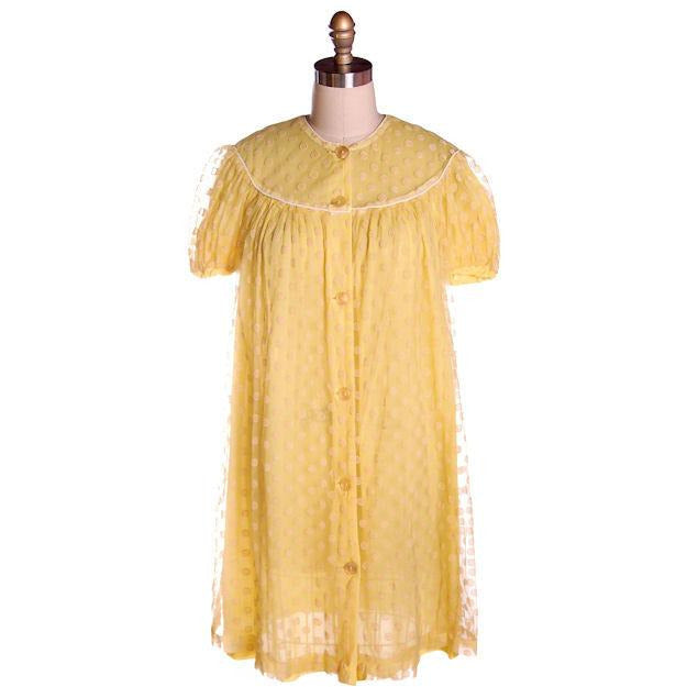 Vintage Baby Doll Nighty Yellow Polka Dot FLocked Nylon 1970s Small - The Best Vintage Clothing  - 1
