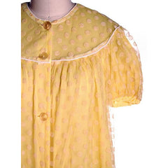 Vintage Baby Doll Nighty Yellow Polka Dot FLocked Nylon 1970s Small - The Best Vintage Clothing  - 4