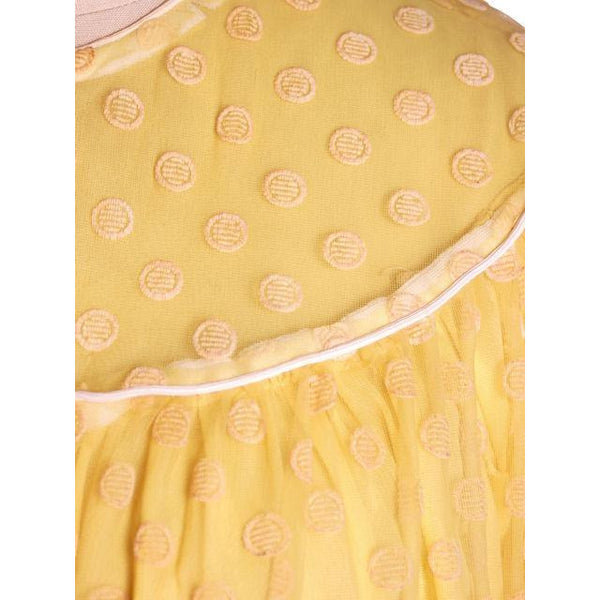 Vintage Baby Doll Nighty Yellow Polka Dot FLocked Nylon 1970s Small - The Best Vintage Clothing  - 5