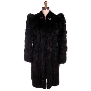 Vintage Ladies Coat Black Skunk  Fur  1930s Big Shoulders Small - The Best Vintage Clothing  - 1