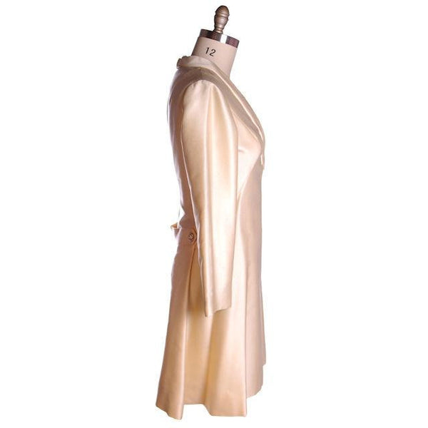 Vintage Ivory Silk Cocktail Dress Provenance Elinor Simmons Malcolm Starr 1970s 40-35-48 - The Best Vintage Clothing  - 2