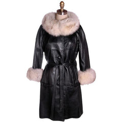 Vintage Black Leather Ladies Coat w White Fox Trim 1960s - The Best Vintage Clothing  - 1