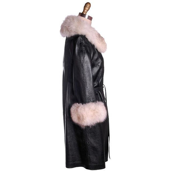 Vintage Black Leather Ladies Coat w White Fox Trim 1960s - The Best Vintage Clothing  - 2