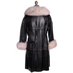 Vintage Black Leather Ladies Coat w White Fox Trim 1960s - The Best Vintage Clothing  - 3