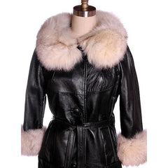 Vintage Black Leather Ladies Coat w White Fox Trim 1960s - The Best Vintage Clothing  - 4