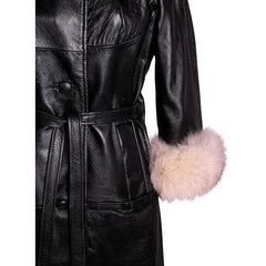 Vintage Black Leather Ladies Coat w White Fox Trim 1960s - The Best Vintage Clothing  - 5