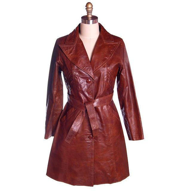 Vintage Ladies Leather Short Trench Coat Brown 1970s S-M J. Munoz - The Best Vintage Clothing  - 1