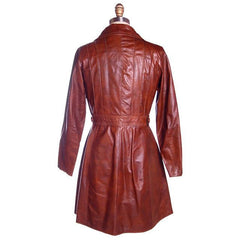 Vintage Ladies Leather Short Trench Coat Brown 1970s S-M J. Munoz - The Best Vintage Clothing  - 3