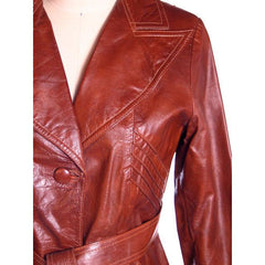 Vintage Ladies Leather Short Trench Coat Brown 1970s S-M J. Munoz - The Best Vintage Clothing  - 4