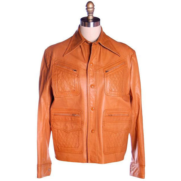 Mens Vintage Ultra 1970s Jacket Faux Leather Brad Whitney Equu-Hyde  Size 38 - The Best Vintage Clothing  - 1