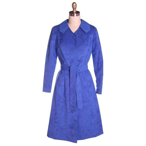 Vintage Ultra Suede Ladies Spring Coat/Dress  Bright Blue 1970s Small - The Best Vintage Clothing  - 1