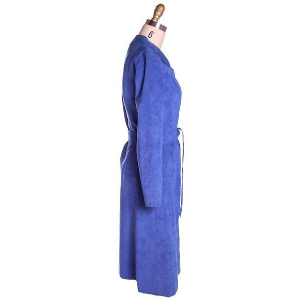 Vintage Ultra Suede Ladies Spring Coat/Dress  Bright Blue 1970s Small - The Best Vintage Clothing  - 2