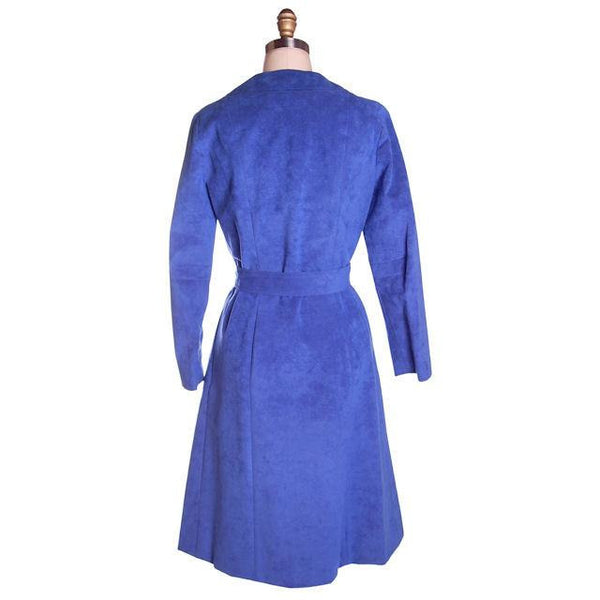 Vintage Ultra Suede Ladies Spring Coat/Dress  Bright Blue 1970s Small - The Best Vintage Clothing  - 3