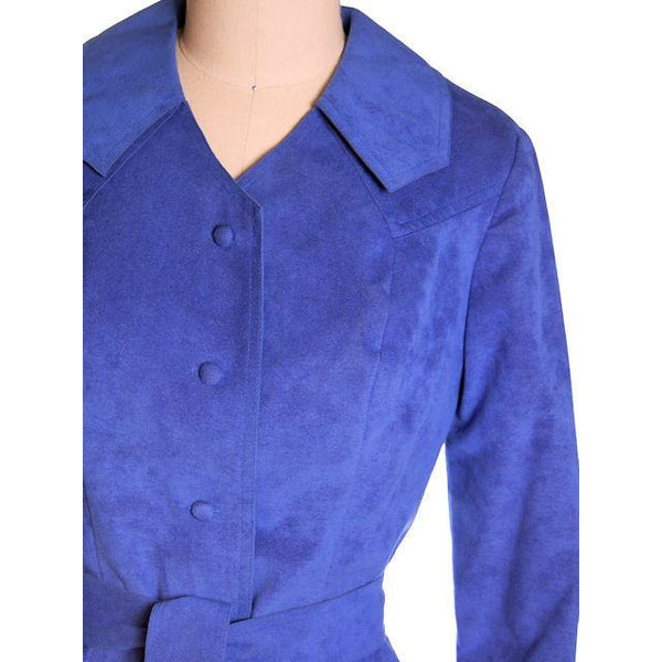 Vintage Ultra Suede Ladies Spring Coat/Dress  Bright Blue 1970s Small - The Best Vintage Clothing  - 4