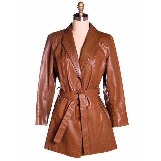 Vintage Ladies Trench Coat Tobacco Leather Avanti 1970s Sz Small - The Best Vintage Clothing  - 1