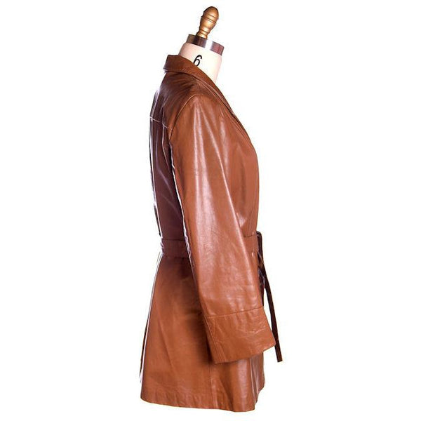 Vintage Ladies Trench Coat Tobacco Leather Avanti 1970s Sz Small - The Best Vintage Clothing  - 2