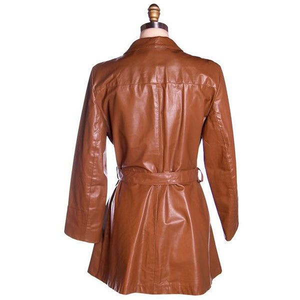 Vintage Ladies Trench Coat Tobacco Leather Avanti 1970s Sz Small - The Best Vintage Clothing  - 3