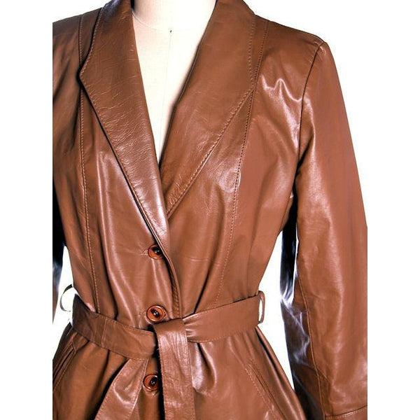 Vintage Ladies Trench Coat Tobacco Leather Avanti 1970s Sz Small - The Best Vintage Clothing  - 4