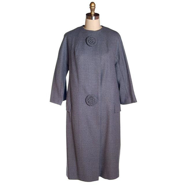 Vintage Ladies Spring Coat Gray Wool Fab Buttons Promenade 1950s - The Best Vintage Clothing  - 1