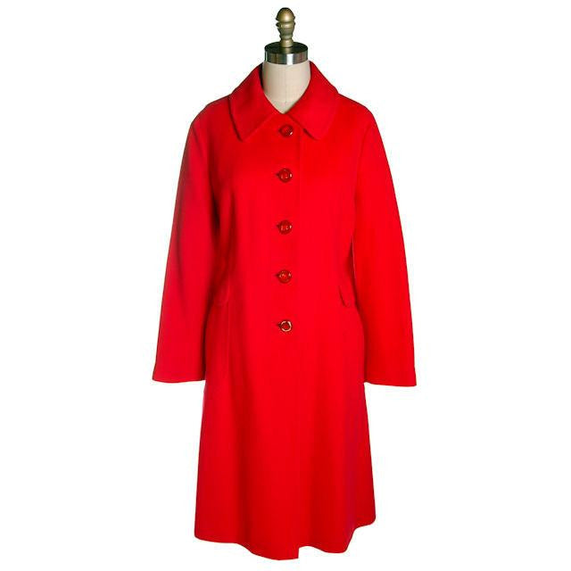 "Vintage Lipstick Red Cashmere Coat 1950s Fabulous Pockets 42"" Bust - The Best Vintage Clothing  - 1"