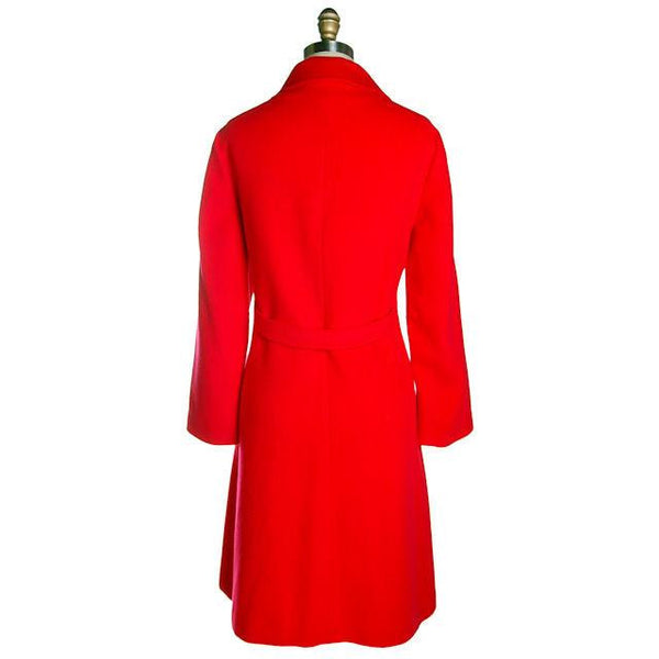 "Vintage Lipstick Red Cashmere Coat 1950s Fabulous Pockets 42"" Bust - The Best Vintage Clothing  - 3"