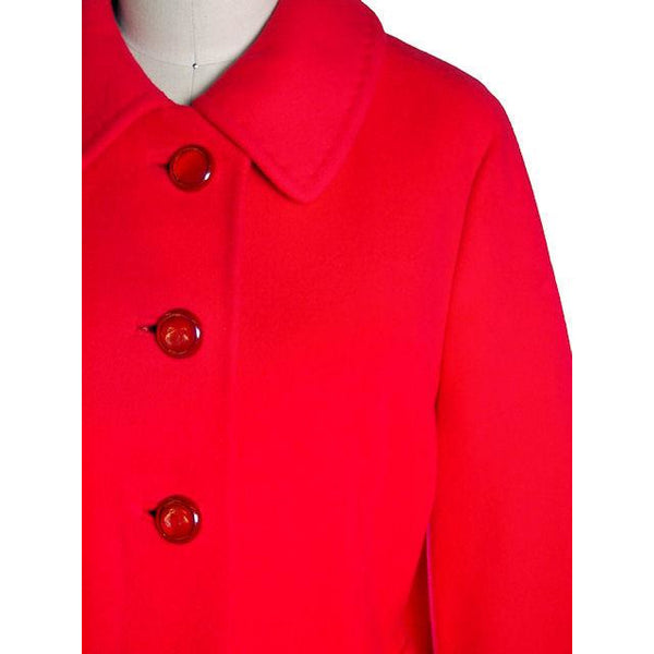 "Vintage Lipstick Red Cashmere Coat 1950s Fabulous Pockets 42"" Bust - The Best Vintage Clothing  - 4"