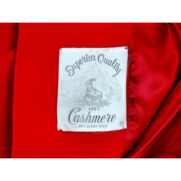"Vintage Lipstick Red Cashmere Coat 1950s Fabulous Pockets 42"" Bust - The Best Vintage Clothing  - 7"
